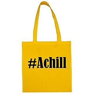 Tasche #Achill Größe 38x42 Farbe Gelb Druck Schwarz