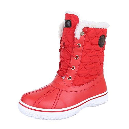 Komfort Stiefeletten Damen Schuhe Schlupfstiefel Warm Gefütterte Schnürsenkel Ital-Design Stiefeletten Rot