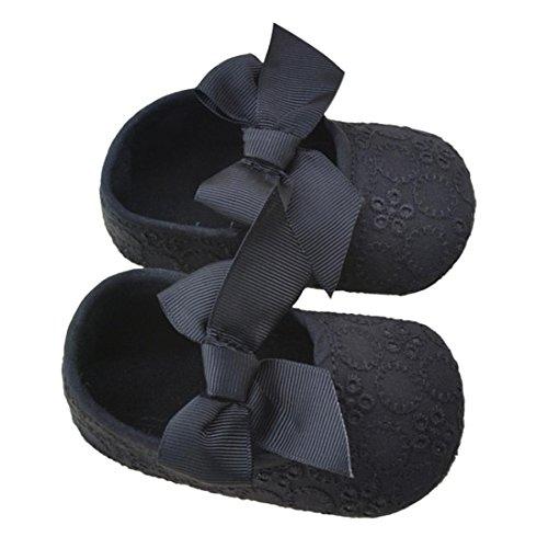 Säugling Mädchen Baumwollband Bowknot Prewalker, Zolimx Baby Weiche Unterseite Blumen-Schuhe Schwarz