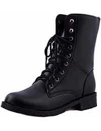 Manadlian_Botas Botas,Manadlian Mujeres Motociclista Plano Zapatos militares Zapatos de combate del ejército Botas negras