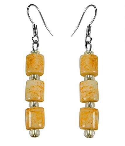 CRYSTAL & BEADS Agate Yellow Colour Drum Bead & White Colour Crystal Earring