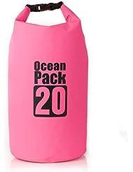 Ueasy 20L impermeable bolsa seca ligero plegable playa de natación bolsa de almacenamiento con Correa para el hombro ajustable para kayak Rafting Boating senderismo Camping Pesca, Rosa roja
