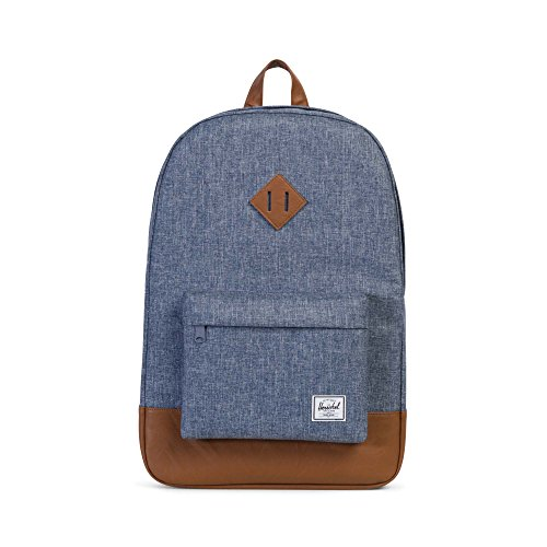 Herschel Heritage Rucksack, 46 cm, 21.5 L, Blue dark chambray crosshatch/tan synthetic leather