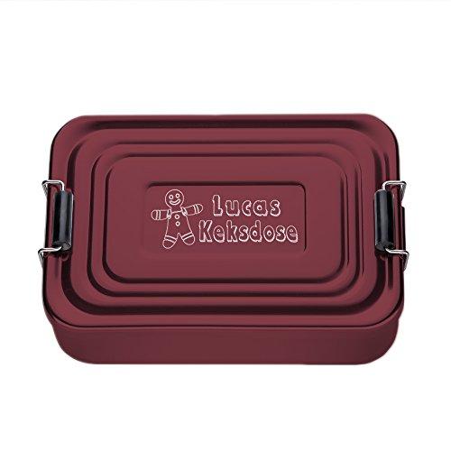 Brotdose eckig aus Aluminium (rot) mit Gravur – Keksdose – Personalisiert mit Namen – Persönliche Lunchbox als Weihnachtsgeschenk – Geschenk-Idee für Weihnachten