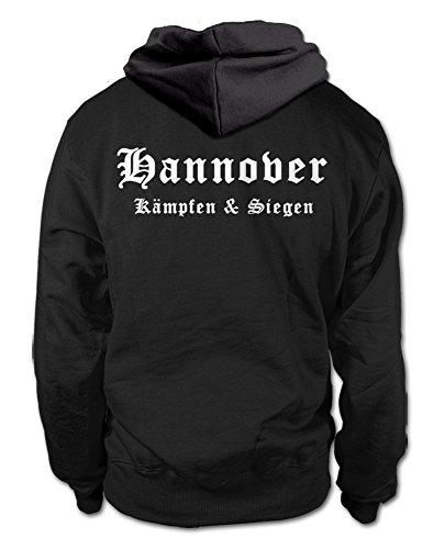 shirtloge Hannover - Kämpfen & Siegen - Fan Kapuzenpullover - Schwarz (Weiß) - Größe L