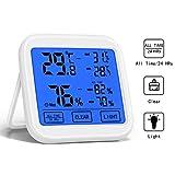 Langdy Thermometer Hygrometer Innen, Digitales Thermo-Hygrometer Temperatur, 3 Installationsmethoden, 24 Stunden/Allzeit, Max/Min und Clear Records, LCD-Display für Babyraum