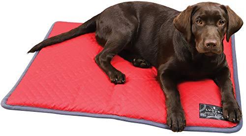 LUGUNO® Hundekissen 80 x 60 cm Rot Waschbar Wasserdicht, für mittelgrosse Hunde, Outdoor & Zuhause Robust Wendekissen Weich & Bequem
