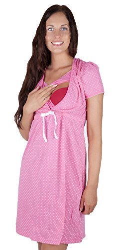 Chemise de nuit pour grossesse et allaitement 7002D - 100 % coton, Multicolore - Rose, 42