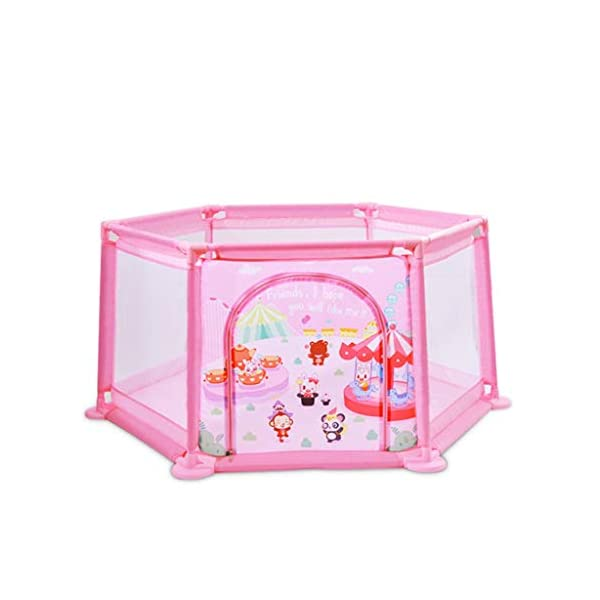 Playpens ,6 Panels Portable Foldable Folding,Children's Play Fence Home Drop-proof Baby Indoor Toddler 145 * 65 * 77cm (color : B) Playpens ★ hexagonal children's fence, size: 147 * 65 * 77cm, applicable number: 2~3 people, applicable age: 5 months to 3 years old, material: ABS angle PVC connector Oxford cloth net ★Playpen is the baby's little world, several small baby can play a role inside the game, play house, such a space, the ability to exercise various aspects of your baby, your baby is no longer playing outside all day makes the body dirty just trouble ★Are you a lot of toys for your baby makes a mess at home to worry about? In fact, is an oversized toy fence saving cabinet, you can put your baby's toys on the fence, usually to let your baby play in the fence, that meets the baby playing on the mind, but also to maintain a clean and tidy home 1