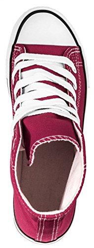Elara Unisex Sneaker | Sportschuhe für Herren Damen | High Top Turnschuh Textil Schuhe 36-47 Rot High