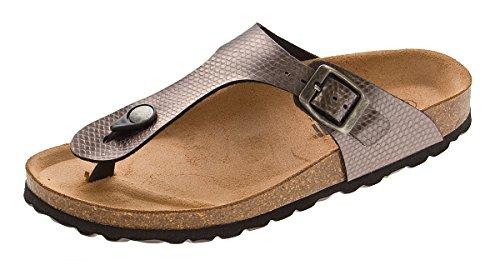 Damen Bio Pantoletten Gemini Zehentrenner Clogs Bronze Sandalen Leder-Kork-Fußett Schuhe Latschen Gr. 42