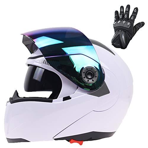 TANMIN Moto Crash Casco Modulare ECE Approved - Casco Moto con Doppia Visiera di Sun (Colore Esterno della Visiera) E Guanti Regalo per Gli Uomini Adulti Donne,Bianca,L