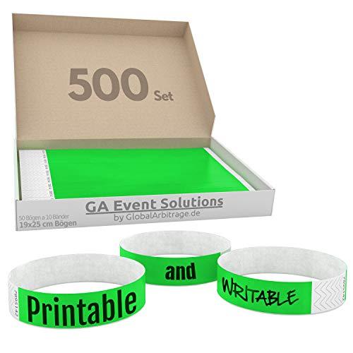 GA Event Solutions Braccialetti di identificazione Tyvek, Verde, 500 pezzi