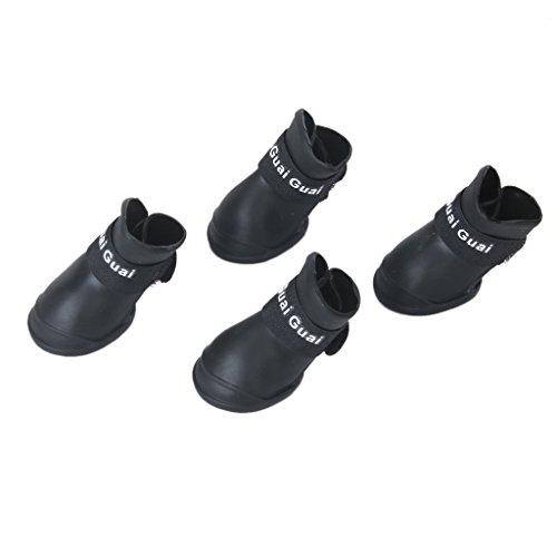 Sharplace 4Pcs Anti-Rutsch Hund Socken Hund Boot Pfote Protektoren Wasserdicht Regen Schuhe Antirutsch Stiefel für Pet Puppy Hund - Schwarz, M (Stiefel Puppy Kleine)
