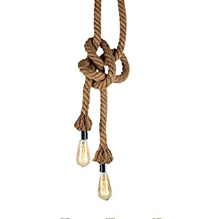 Hemp Rope Chandelier,Vintage Pendant Light,200CM Long(100CM+100CM) 2 Lamp Holders,E27 Lamp Socket Vintage Edison Rope Hemp Ceiling Light Retro Chandelier Pendant Light(No Bulb Included)