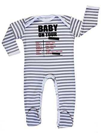 Rockabye-Unisex Baby Unisex Baby On Tour Long Sleeve All-In-One Grey/White 6-9 Months