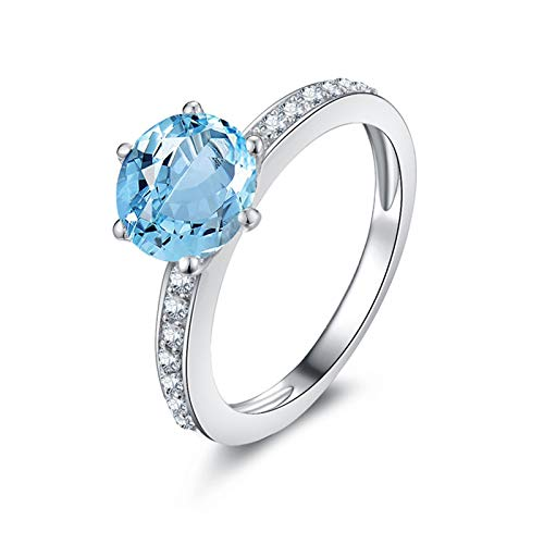 SonMo Ring Solitär 925 Sterling Silber Verlobungsring Hochzeit Ring Eheringe Blau Zirkonia Kreis mit Runde Solitär Ring Silber Hellblau Topas Brilliantschliff Ring Frauen 45 (14.3)