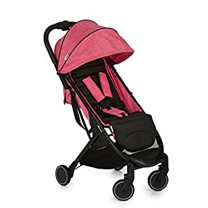 Hauck Swift One Hand, Compact Fold Pushchair with Raincover, Melange Pink/Black   5