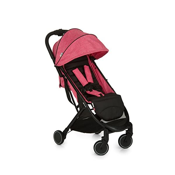 Hauck Swift One Hand, Compact Fold Pushchair with Raincover, Melange Pink/Black Hauck A sporty stroller with one-hand folding mechanism The comfortable seat has an adjustable backrest and adjustable footrest down to lying position - ideal even for newborns Lightweight aluminium frame - only 6.4kg 1