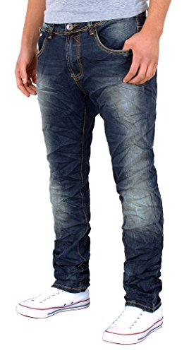 by-tex Herren Used Look Jeans Hose Basic Slim Fit Jeanshose Stretch Knitteroptik Jeans A417 A417