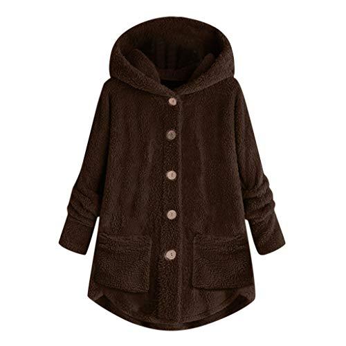 TOPKEAL Damen Herbst Winter Mantel Jacke Langarm Einfarbig Tops Pulli Frauen Warm Plüsch Kapuzenpullover Hoodie Pullover Outwear Mit Tasche (Kaffee, XXL) -