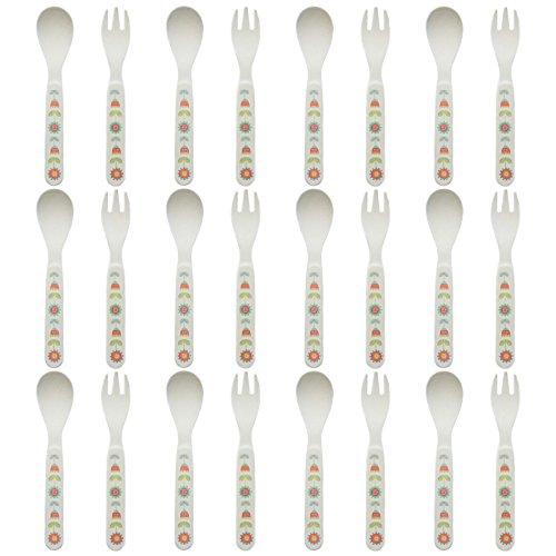Tiny Dining Salle à Manger minuscules Fibre de Bambou Enfants fourchettes et cuillères Couverts - Fleurs - Paquet de 12
