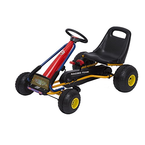 HOMCOM Go Kart Sports Racing Pedal Car for Children 3-8 Years with Adjustable Seat Clutch and Brake 96x68x56cm Black Steel