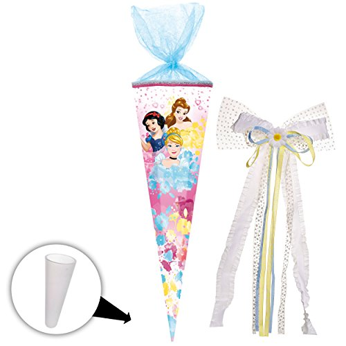 alles-meine GmbH Schultüte -  Disney Princess - Schneewittchen - Belle - Cinderella  - 85 cm - eckig - incl. große 3-D Effekt _ Schleife - Tüllabschluß - Zuckertüte - mit / ..