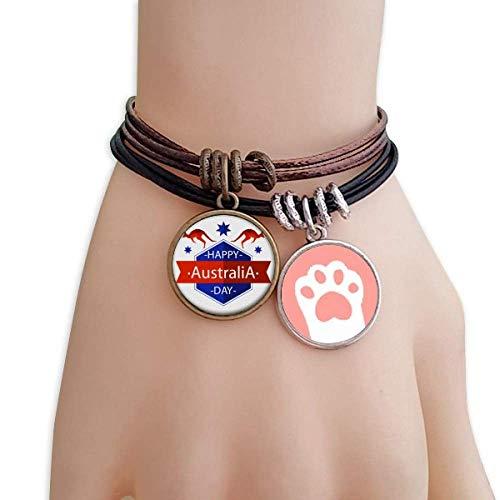 Emu Leder (DIYthinker Damen glücklich Australia Tag Strauß und Stern-Illustration Katzen-Armband-Leder-Seil-Armband Paar Sets)