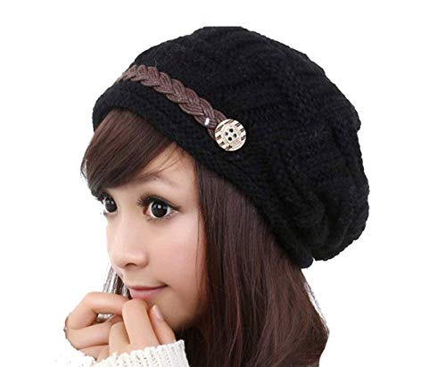 4b6c9b9ab275f8 IDEABBC Warm Winter Knit Beanie crochet de Chapeau Femmes Mode