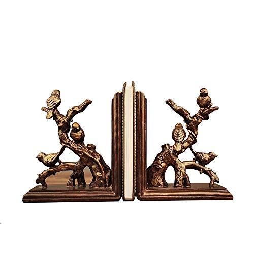 Antike Kupfer-zweig (Dekorative Buchstütze Statuen1 Paar, geschnitzte Zweige & kleine Vögel Buchhalter - traditionelle klassische Kunst Dekor Polyresin Kunsthandwerk - Antik Kupfer Farbe Finish)
