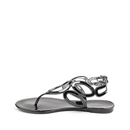 Ideal Shoes Sandales Plates en Plastique Celina Noir