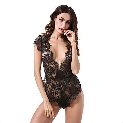 (Y&XX Erotische Dessous für Frauen Sexy Korsett mit Riemen Spitze Bodysuit Schulmädchen Outfit Kostüm Damen Nachtwäsche Nachtwäsche,M)