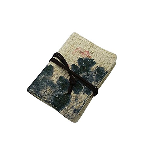 Zhi Jin 1pc Retro Leinen Name, Business Card Inhaber Wallet Fall Vorhänge Warp Kreditkarten Organizer Travel Geschenk 20Karte Slots lotus (Seite 2 Id-card-inhaber)