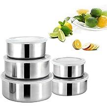 Kurtzy Set Fiambreras Acero Inoxidable Set 5 Contenedores Apilables con Tapas - Boles para Guardar Alimentos