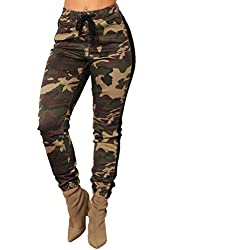❤️ Camo Delgado de Las Mujeres, Pantalones Pantalones Casuales Ejército Militar Pantalones de Camuflaje Cintura elástica Pantalones Mujer Cintura Alta Absolute