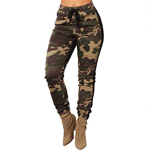 Pantalones Cintura Alta para Mujer Otoño Invierno 2018 Moda PAOLIAN Casual Pantalones Leggings Deportivos Vestir Estampado de Camuflaje Pantalones con Pretina Elástica señora