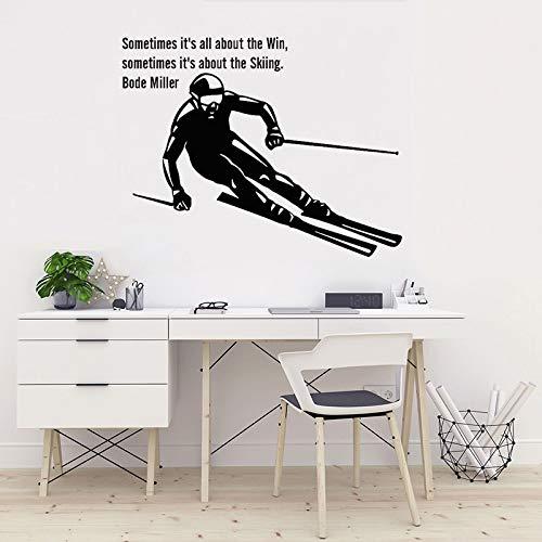 Skifahren Zitat Kunst Decals Ski Sport Vinyl Wandaufkleber Kinderzimmer Skispringen Freestyles Dekoration Kinderzimmer Schlafzimmer Dekor 42x53 cm (Freestyle-ski-poster)