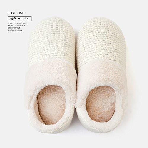 DogHaccd pantofole,Inverno pacchetto soggiorno con cotone pantofole femmina coppie indoor home anti-slittamento pantofole caldi uomini cadono Il beige1