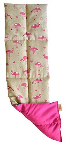Textil FreWe Körnerkissen Baumwolle/Verschiedene Designs/ca. 63x16 cm / 8 Kammern (Flamingo/pink)
