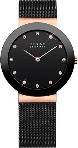 Bering 11435-166 - Reloj unisex, correa de acero inoxidable color negro