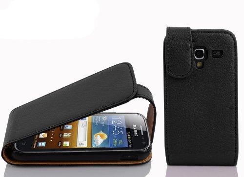 Cadorabo Custodia compatibile con Samsung Galaxy ACE 2 Custodia in OXID Nero Custodia in pelle sintetica strutturata Flip Case Cover