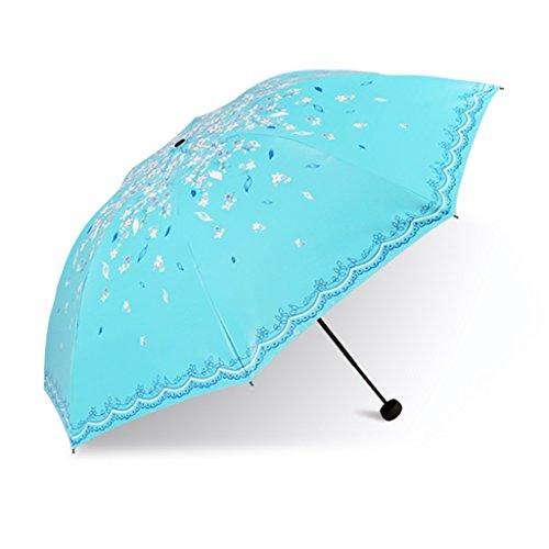 Regenschirm Winddicht Sonnen Regenschirm Dual-Use-Regenschirm Mädchen Kleine Frische Koreanische Sonne UV-UV-Klappschirm Falten (Farbe : A)
