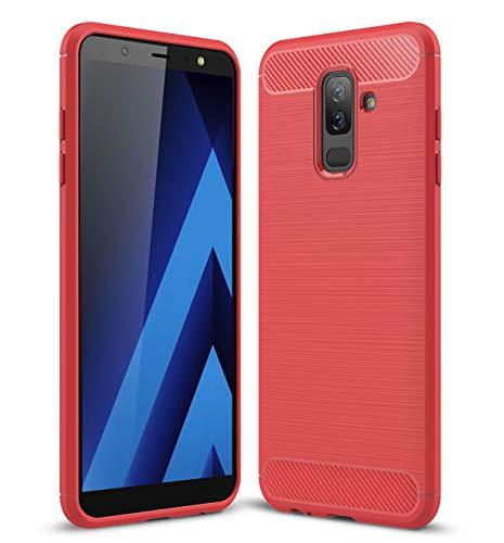 Carbonfaser Design Hülle für Samsung Galaxy A6 Plus 6 inch Hülle Komtable Griffigkeit Slim-Fit [Schutz vor Stößen] Weiches TPU-Gel Rutschfestes Gummi [Kratzfest] für Galaxy A6+(Red)