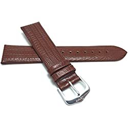 14mm, Slim, Tan, Glossy Finish, Womens' Genuine Leather Watch Band Strap, Comes in Black, Brown, Tan or Burgundy
