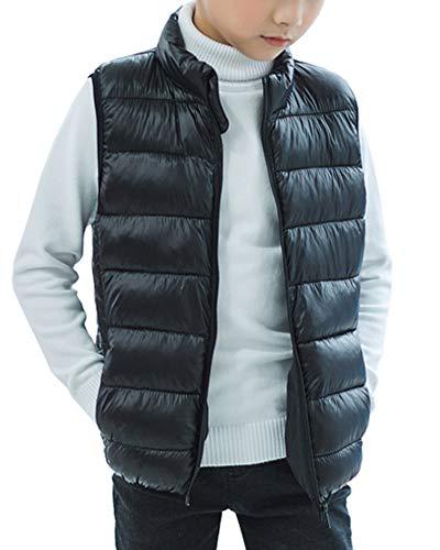 Ragazze ragazzi bambine smanicato giubbotto piumini leggeri gilet autunno e inverno giacche nero 150cm