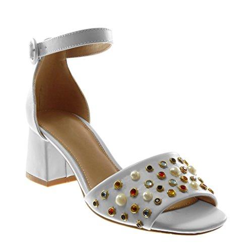 Angkorly - Scarpe Moda Sandali Decollete con Tacco con Cinturino alla Caviglia Donna Tanga Gioielli Perla Tacco a Blocco Alto 6 CM - Bianco LL709 T 38