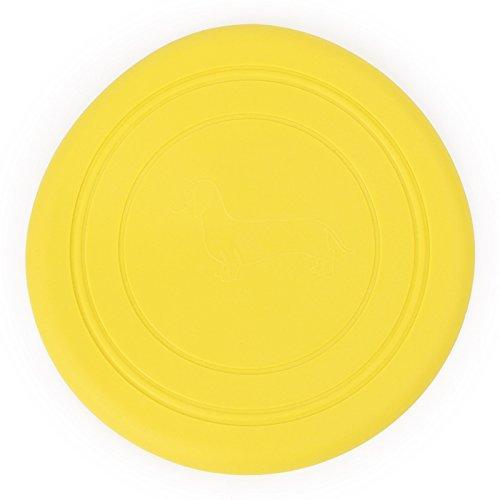 Cdet 18CM Pet frisbee de silicona juguetes para mascotas el entrenamiento del perro suministra juguetes frisbee mascotas Amarillo