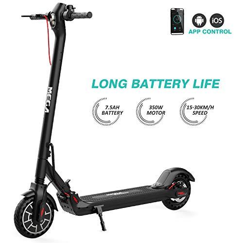 Mega Motion E-Scooter Klappbar Elektroroller Scooter Geschwindigkeit Erwachsene bis 30 Km/h 8.5 Zoll aufblasbares LCD-Display Tragbar Vorderen und Hinteren Rückleuchten(Black)