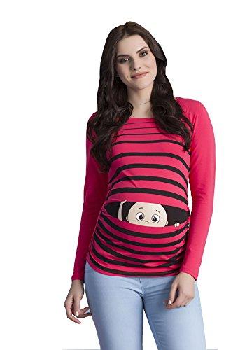 Peek a Boo - Lustiges witziges süßes Langarm-Umstandsshirt mit Guck-Guck Motiv für die Schwangerschaft / Umstandsmode / Schwangerschaftsshirt, Langarm (Medium, Koralle) (Lustige Langarm-shirts)